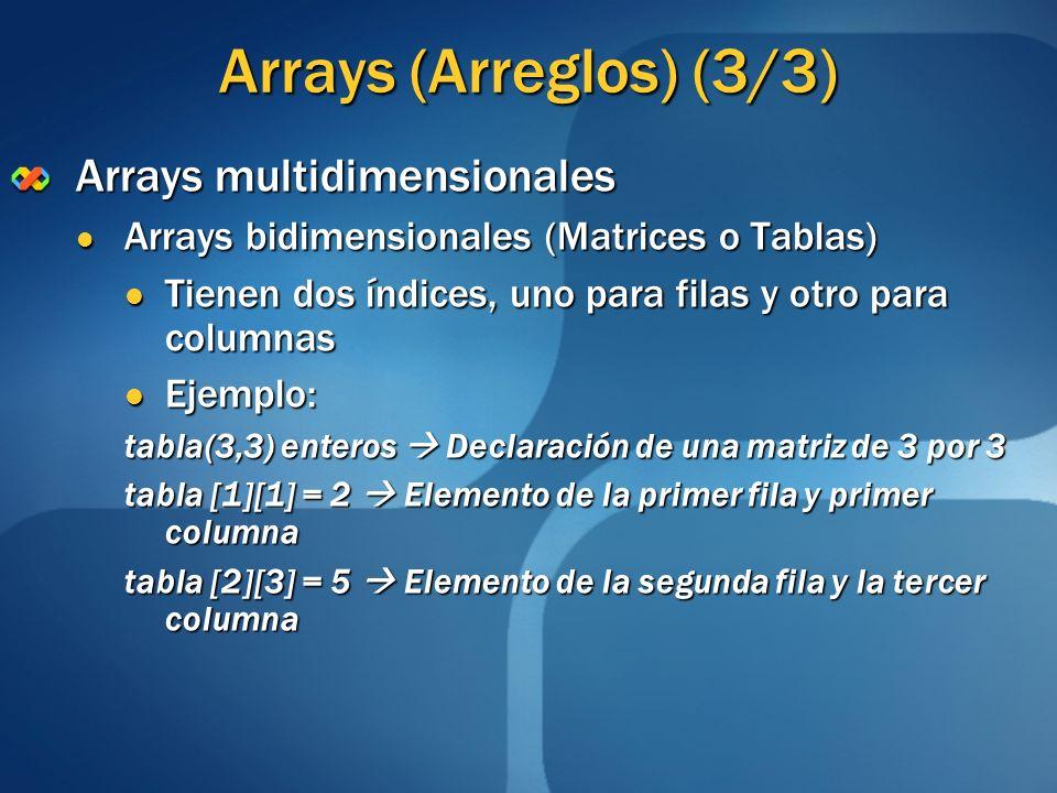 Arrays (Arreglos) (3/3) Arrays multidimensionales Arrays bidimensionales (Matrices o Tablas) Arrays bidimensionales (Matrices o Tablas) Tienen dos índ