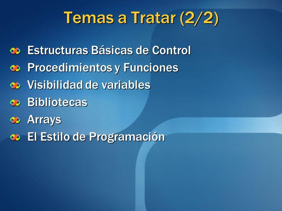 Visibilidad de Variables Variable Local: Declarada en un subprograma Declarada en un subprograma Sólo está disponible durante el funcionamiento del subprograma Sólo está disponible durante el funcionamiento del subprograma Su valor se pierde una vez que el subprograma termina Su valor se pierde una vez que el subprograma termina Variable Global: Declarada en el programa principal Declarada en el programa principal Está disponible en el programa principal y en todos los subprogramas Está disponible en el programa principal y en todos los subprogramas Su valor se pierde una vez que el programa principal termina Su valor se pierde una vez que el programa principal termina