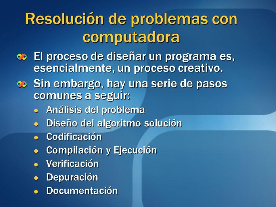 Resolución de problemas con computadora El proceso de diseñar un programa es, esencialmente, un proceso creativo. Sin embargo, hay una serie de pasos