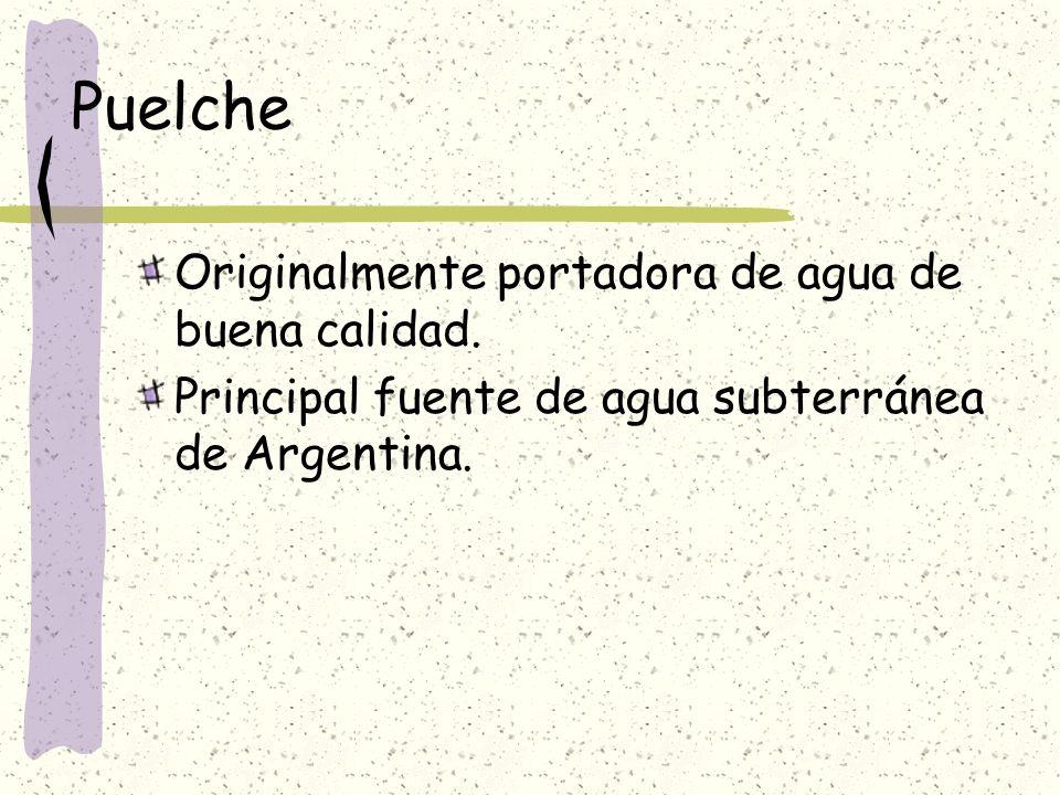 Puelche Originalmente portadora de agua de buena calidad. Principal fuente de agua subterránea de Argentina.