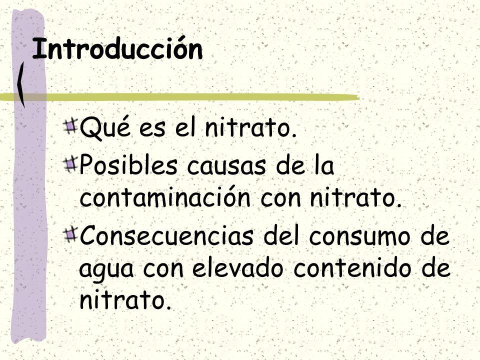 Introducción Qué es el nitrato. Posibles causas de la contaminación con nitrato. Consecuencias del consumo de agua con elevado contenido de nitrato.