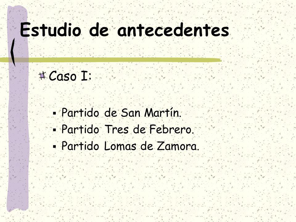 Estudio de antecedentes Caso I: Partido de San Martín. Partido Tres de Febrero. Partido Lomas de Zamora.