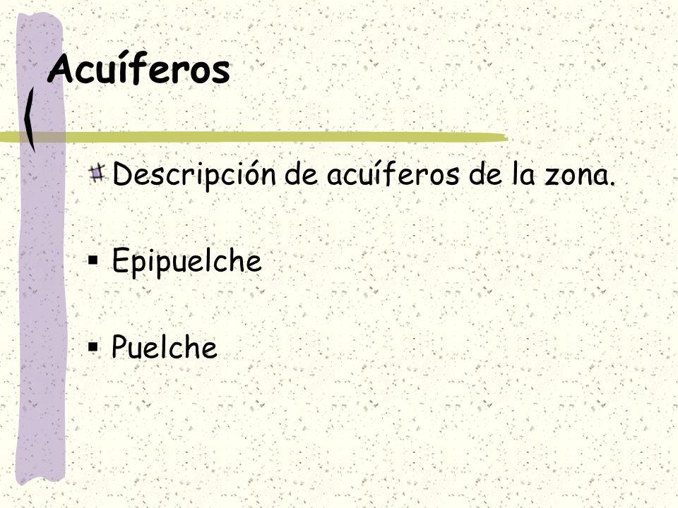 Acuíferos Descripción de acuíferos de la zona. Epipuelche Puelche