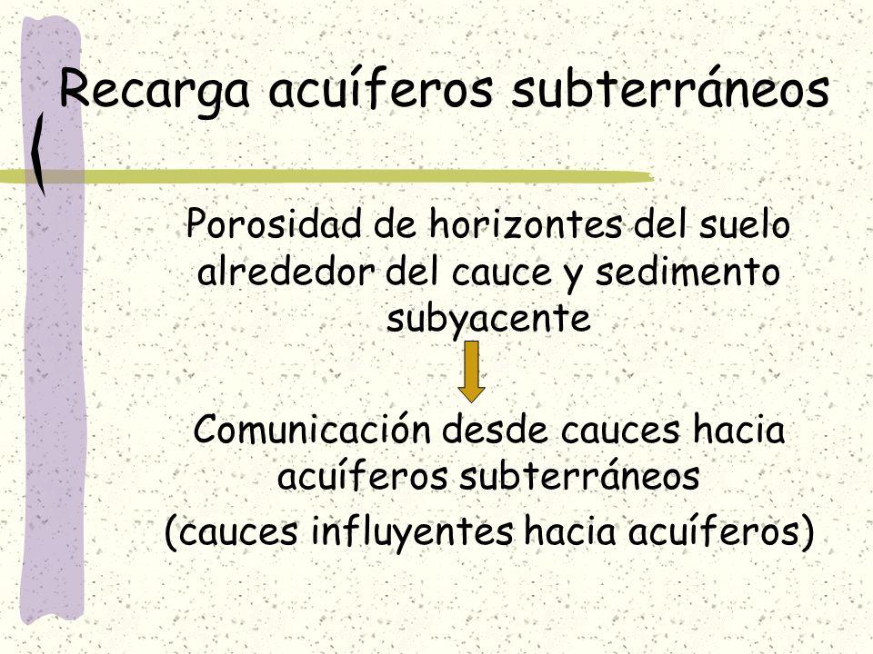 Recarga acuíferos subterráneos Porosidad de horizontes del suelo alrededor del cauce y sedimento subyacente Comunicación desde cauces hacia acuíferos