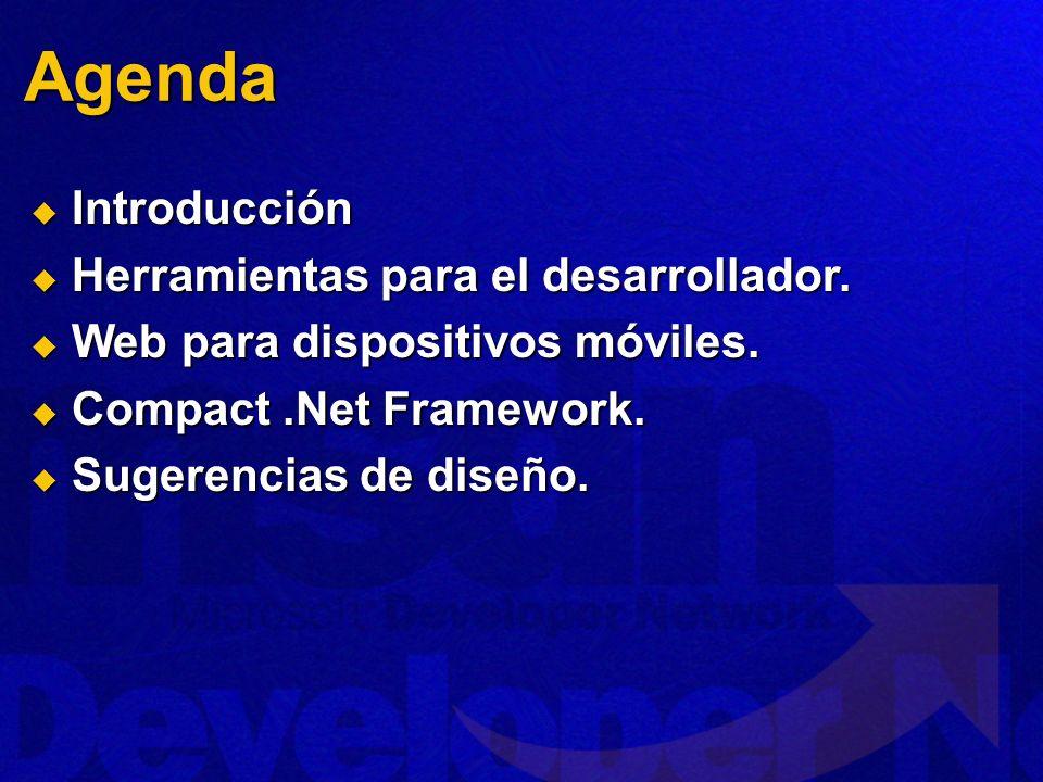 Agenda Introducción Introducción Herramientas para el desarrollador.