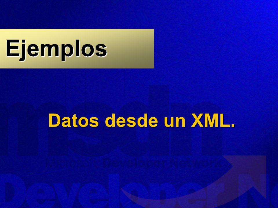Datos desde un XML. Ejemplos