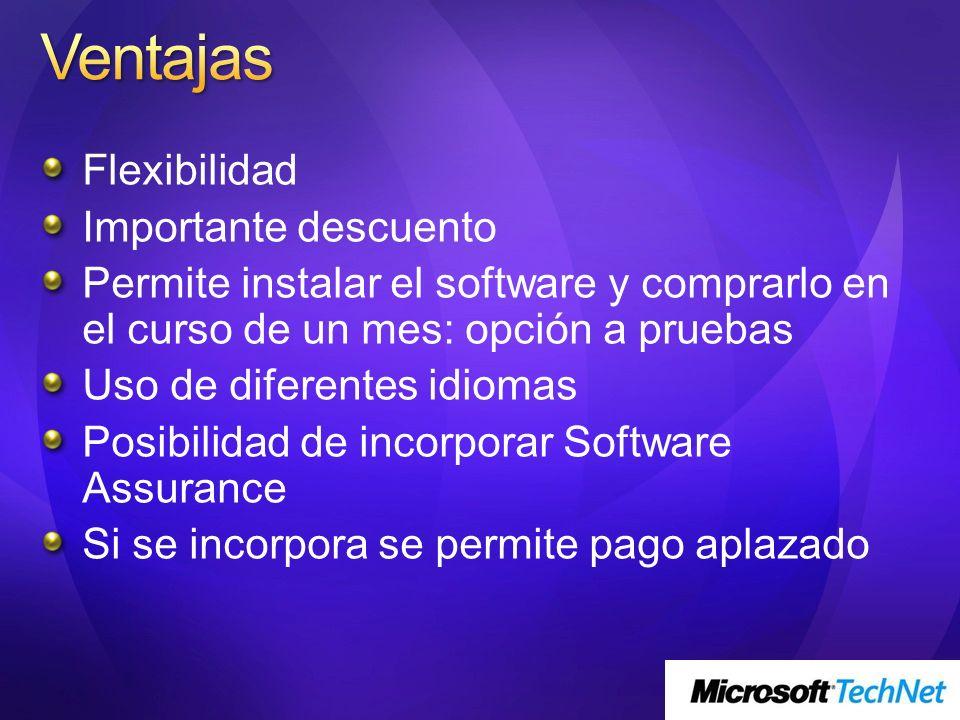 Flexibilidad Importante descuento Permite instalar el software y comprarlo en el curso de un mes: opción a pruebas Uso de diferentes idiomas Posibilid