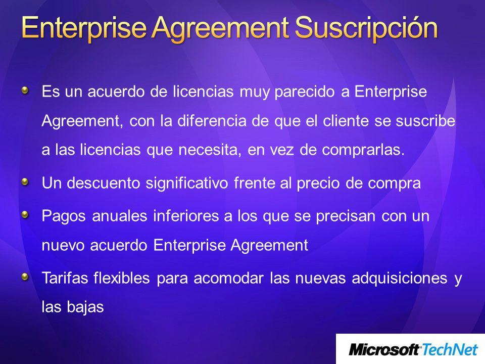 Es un acuerdo de licencias muy parecido a Enterprise Agreement, con la diferencia de que el cliente se suscribe a las licencias que necesita, en vez d
