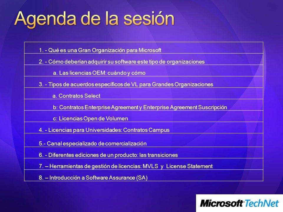 1. - Qué es una Gran Organización para Microsoft 2. - Cómo deberían adquirir su software este tipo de organizaciones a. Las licencias OEM: cuándo y có