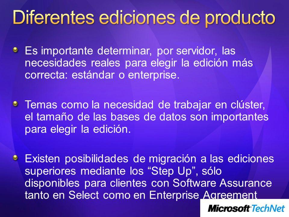 Es importante determinar, por servidor, las necesidades reales para elegir la edición más correcta: estándar o enterprise. Temas como la necesidad de