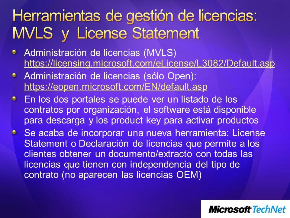 Administración de licencias (MVLS) https://licensing.microsoft.com/eLicense/L3082/Default.asp https://licensing.microsoft.com/eLicense/L3082/Default.a