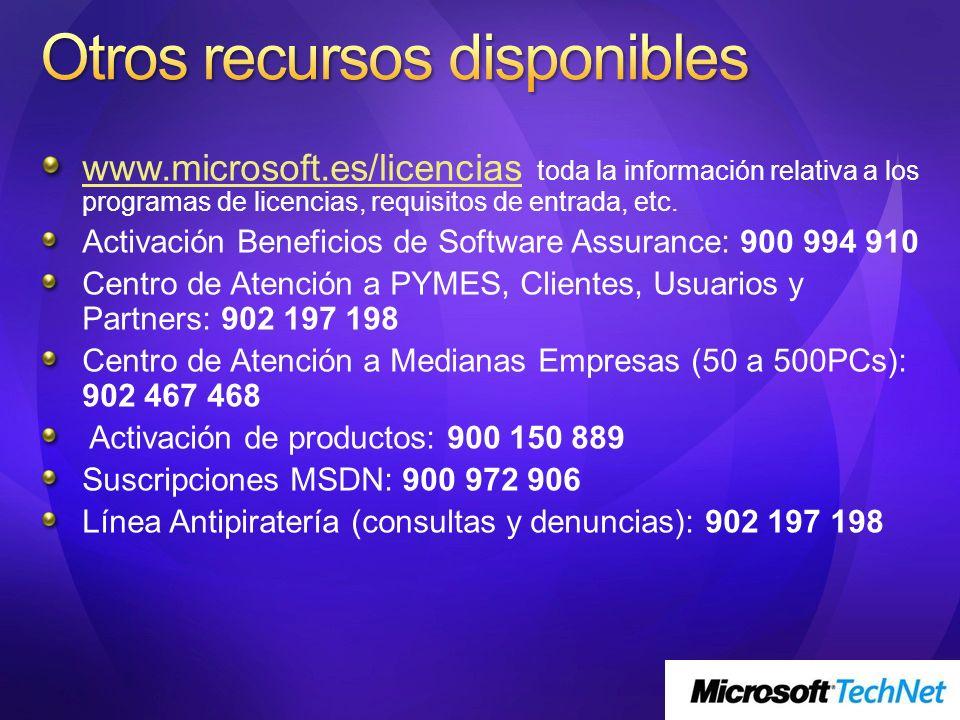 www.microsoft.es/licenciaswww.microsoft.es/licencias toda la información relativa a los programas de licencias, requisitos de entrada, etc. Activación