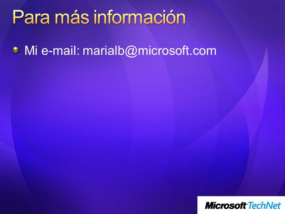 Mi e-mail: marialb@microsoft.com