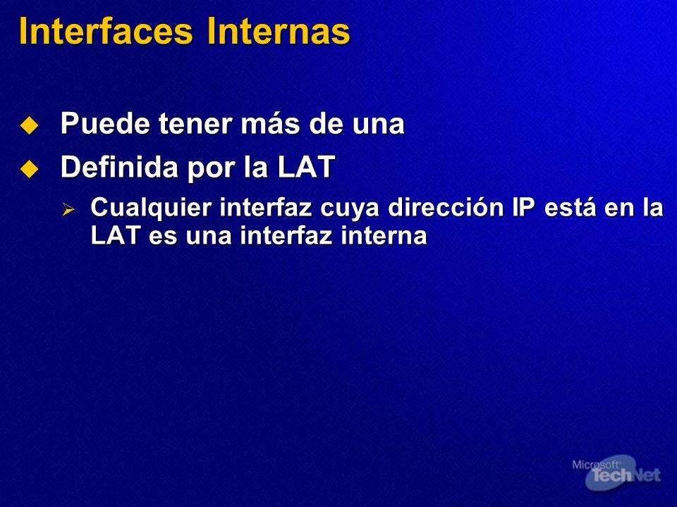 Interfaces Internas Puede tener más de una Puede tener más de una Definida por la LAT Definida por la LAT Cualquier interfaz cuya dirección IP está en