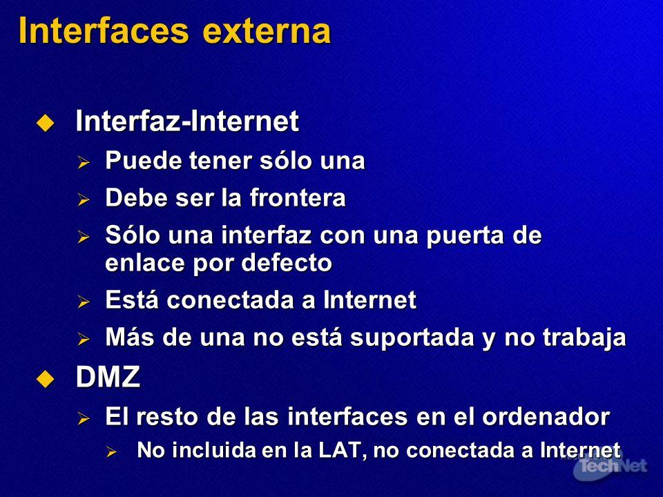 Interfaces externa Interfaz-Internet Interfaz-Internet Puede tener sólo una Puede tener sólo una Debe ser la frontera Debe ser la frontera Sólo una in
