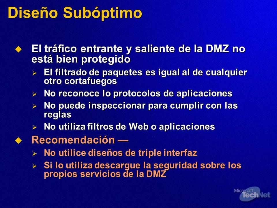 Diseño Subóptimo El tráfico entrante y saliente de la DMZ no está bien protegido El tráfico entrante y saliente de la DMZ no está bien protegido El fi