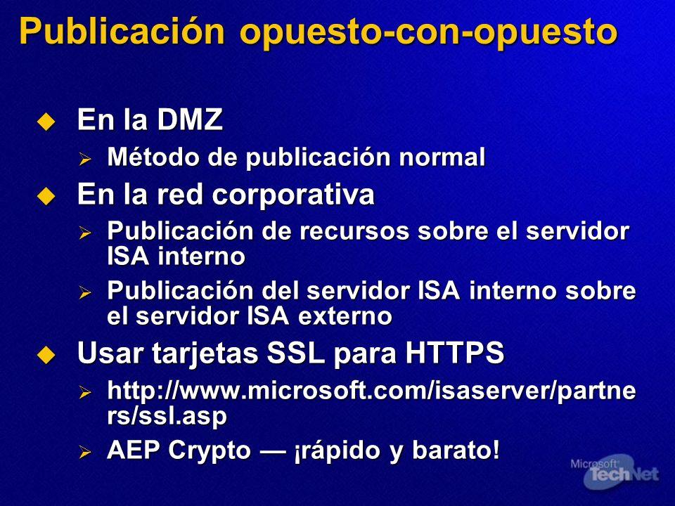 Publicación opuesto-con-opuesto En la DMZ En la DMZ Método de publicación normal Método de publicación normal En la red corporativa En la red corporat