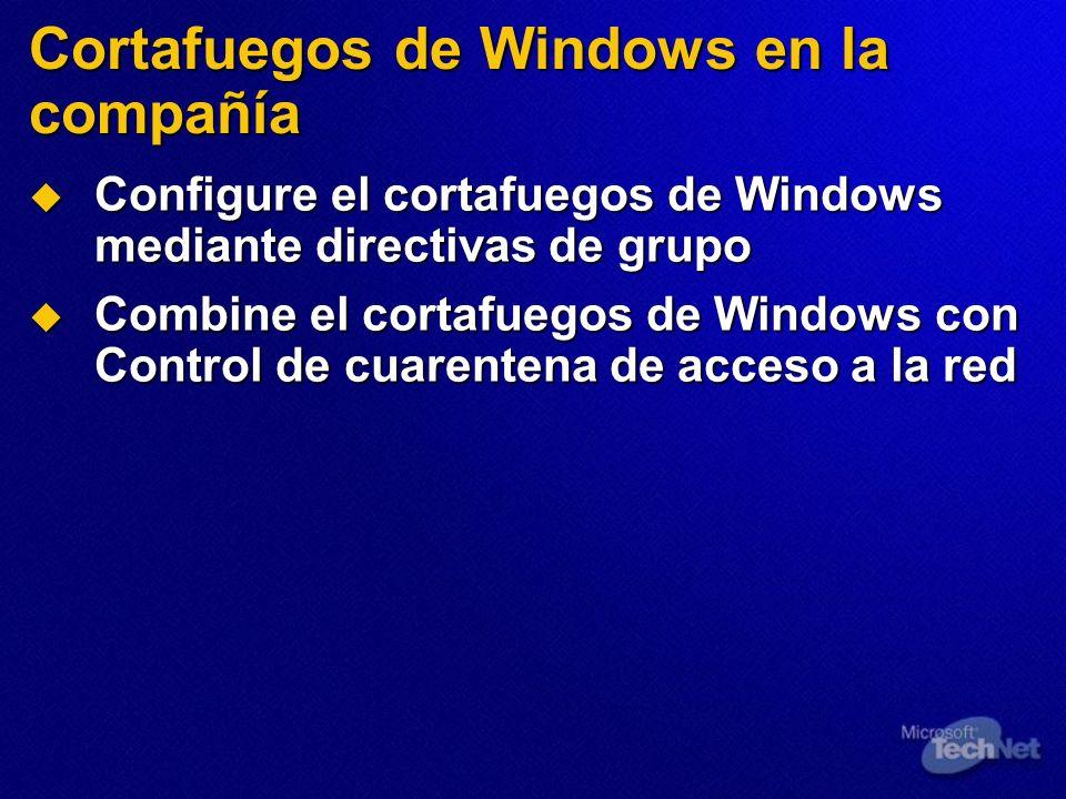 Cortafuegos de Windows en la compañía Configure el cortafuegos de Windows mediante directivas de grupo Configure el cortafuegos de Windows mediante di