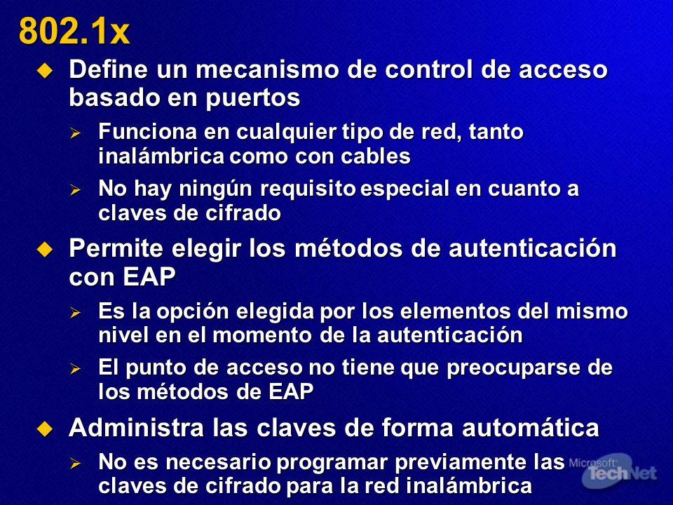 Define un mecanismo de control de acceso basado en puertos Define un mecanismo de control de acceso basado en puertos Funciona en cualquier tipo de re