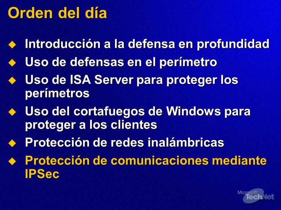 Orden del día Introducción a la defensa en profundidad Introducción a la defensa en profundidad Uso de defensas en el perímetro Uso de defensas en el