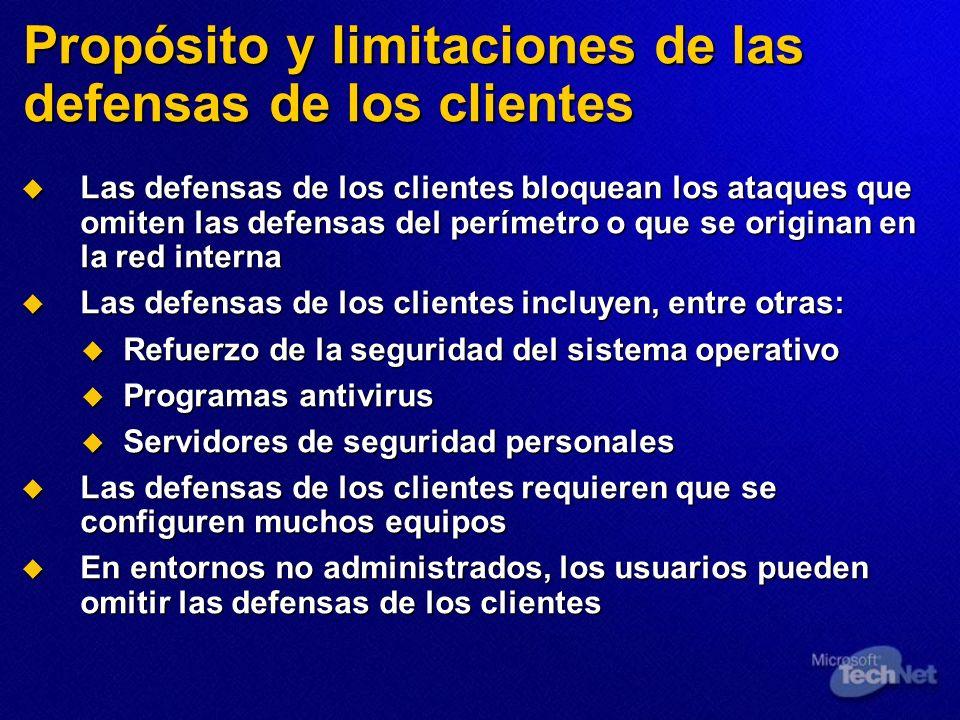 Propósito y limitaciones de las defensas de los clientes Las defensas de los clientes bloquean los ataques que omiten las defensas del perímetro o que