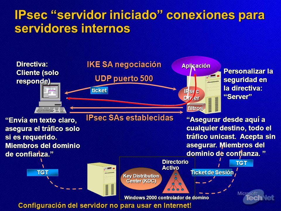 IPsec servidor iniciado conexiones para servidores internos Aplicación IPsecDriver Directiva: Cliente (solo responde) Personalizar la seguridad en la