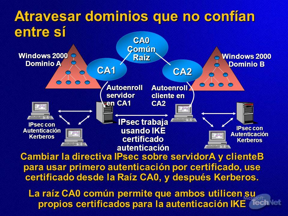 Atravesar dominios que no confían entre sí Windows 2000 Dominio A IPsec con Autenticación Kerberos Windows 2000 Dominio B IPsec con Autenticación Kerb