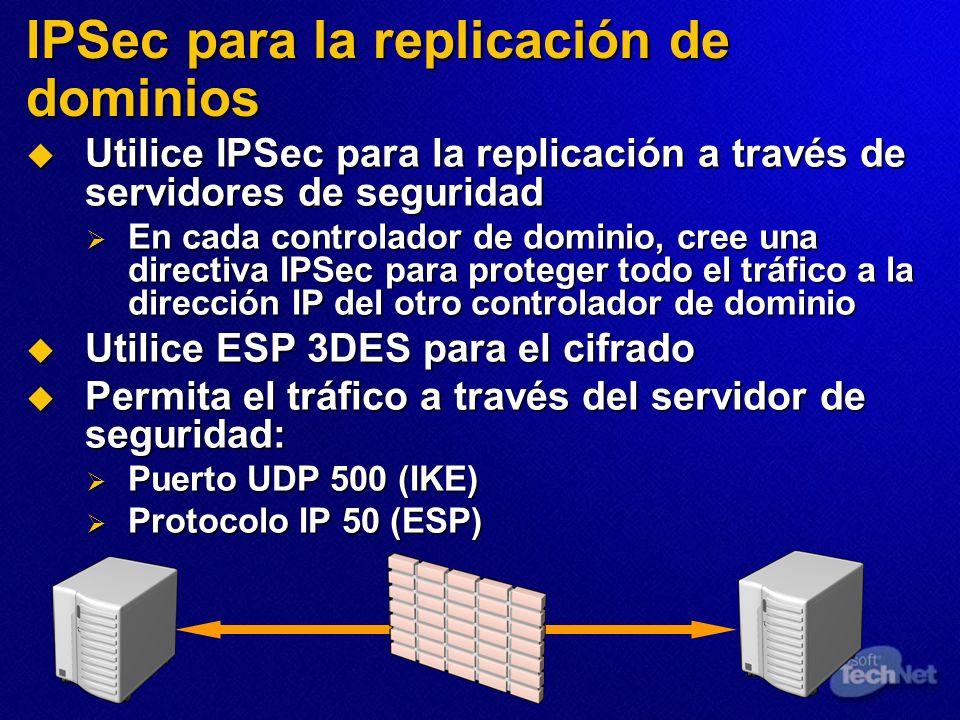 IPSec para la replicación de dominios Utilice IPSec para la replicación a través de servidores de seguridad Utilice IPSec para la replicación a través