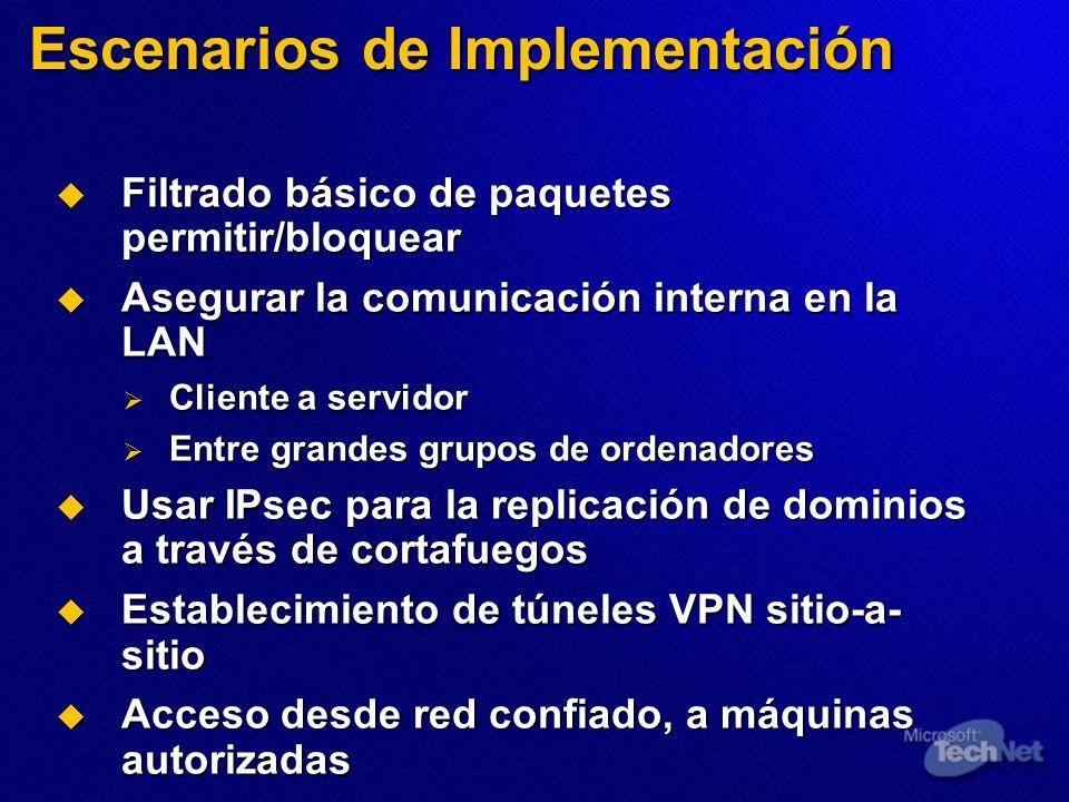 Escenarios de Implementación Filtrado básico de paquetes permitir/bloquear Filtrado básico de paquetes permitir/bloquear Asegurar la comunicación inte