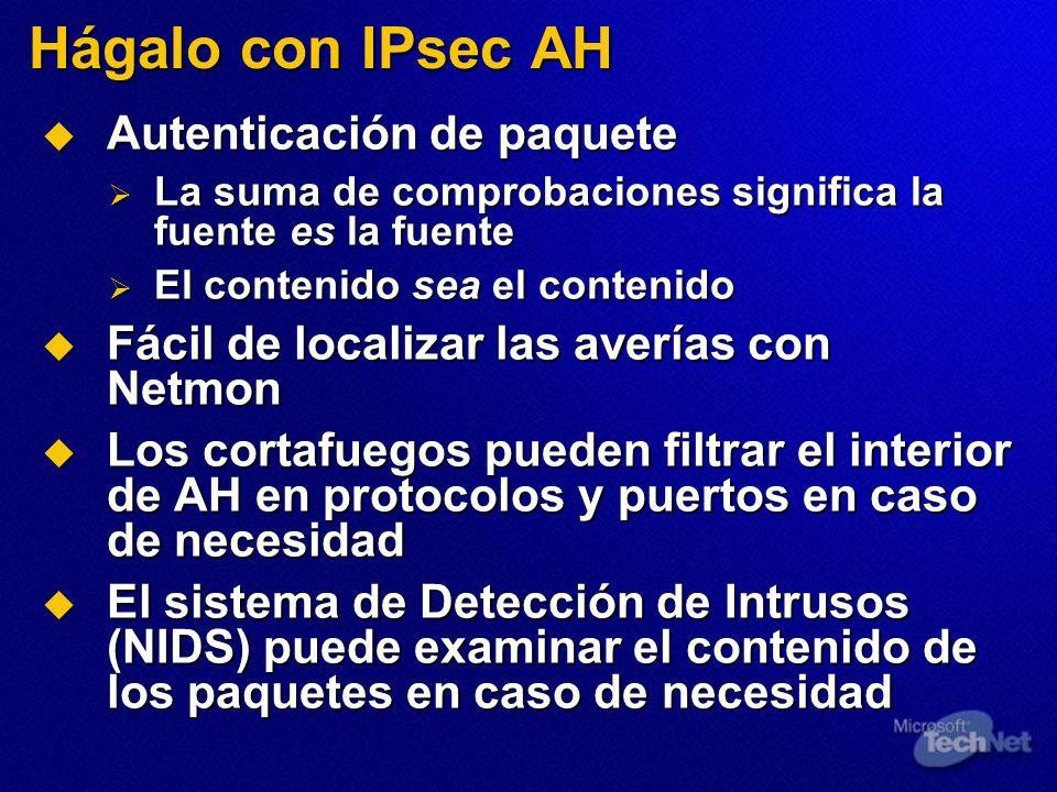 Hágalo con IPsec AH Autenticación de paquete Autenticación de paquete La suma de comprobaciones significa la fuente es la fuente La suma de comprobaci