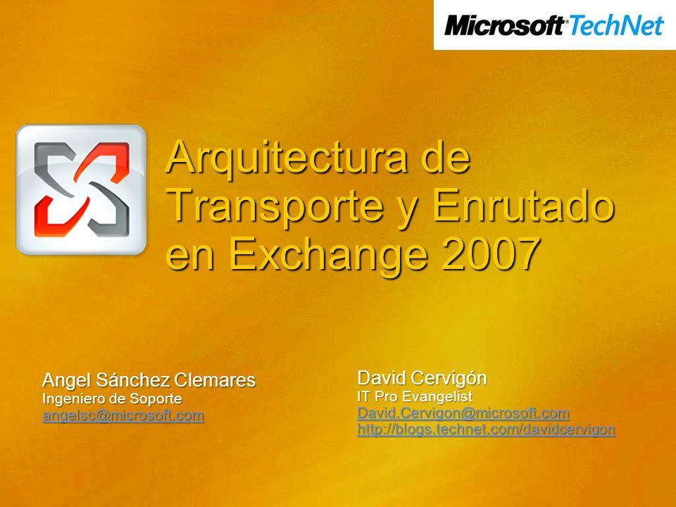 Arquitectura de Transporte y Enrutado en Exchange 2007 Angel Sánchez Clemares Ingeniero de Soporte angelsc@microsoft.com David Cervigón IT Pro Evangel