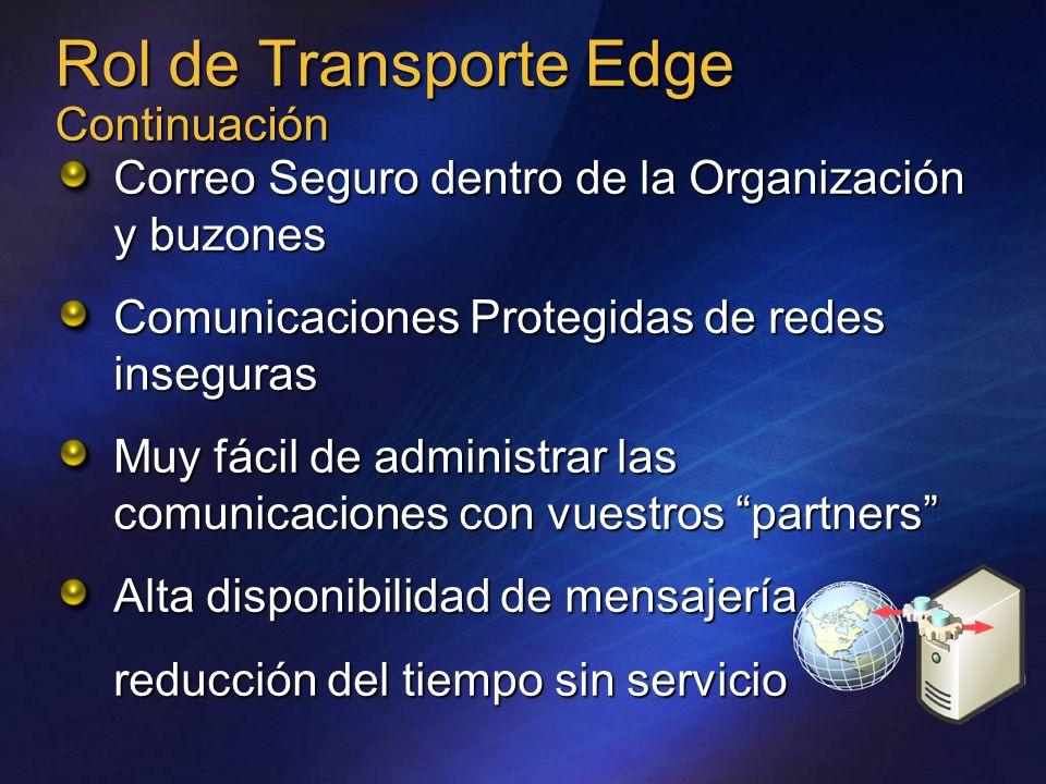 Rol de Transporte Edge Continuación Correo Seguro dentro de la Organización y buzones Comunicaciones Protegidas de redes inseguras Muy fácil de admini