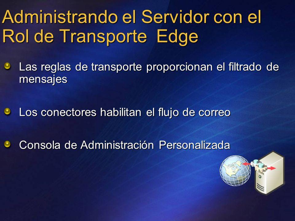 Administrando el Servidor con el Rol de Transporte Edge Las reglas de transporte proporcionan el filtrado de mensajes Los conectores habilitan el fluj
