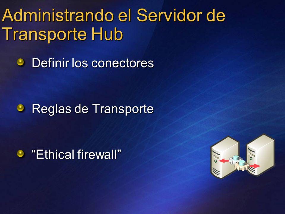 Administrando el Servidor de Transporte Hub Definir los conectores Reglas de Transporte Ethical firewall