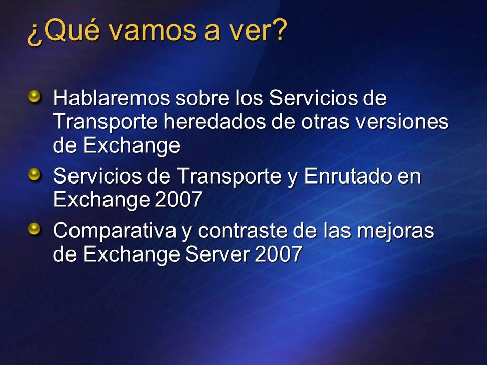 ¿Qué vamos a ver? Hablaremos sobre los Servicios de Transporte heredados de otras versiones de Exchange Servicios de Transporte y Enrutado en Exchange