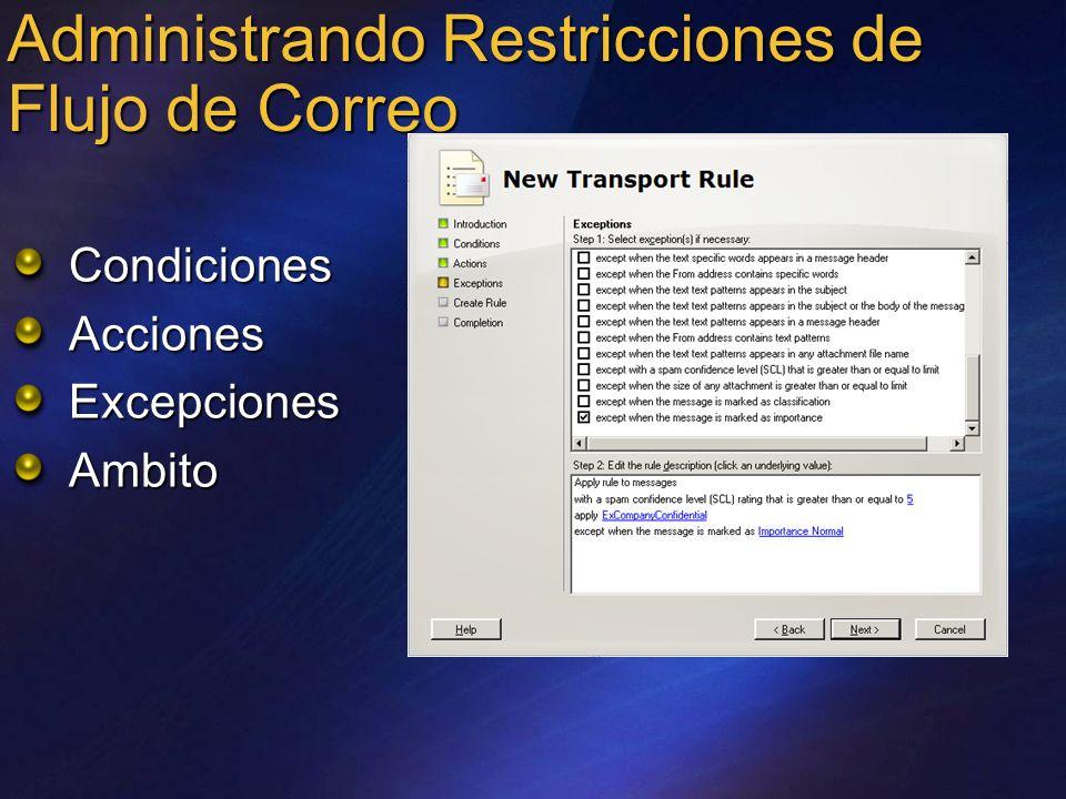 Administrando Restricciones de Flujo de Correo CondicionesAccionesExcepcionesAmbito