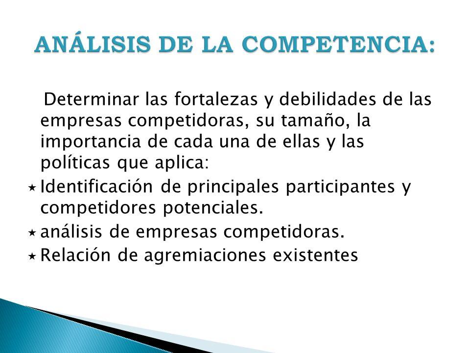 Determinar las fortalezas y debilidades de las empresas competidoras, su tamaño, la importancia de cada una de ellas y las políticas que aplica: Ident