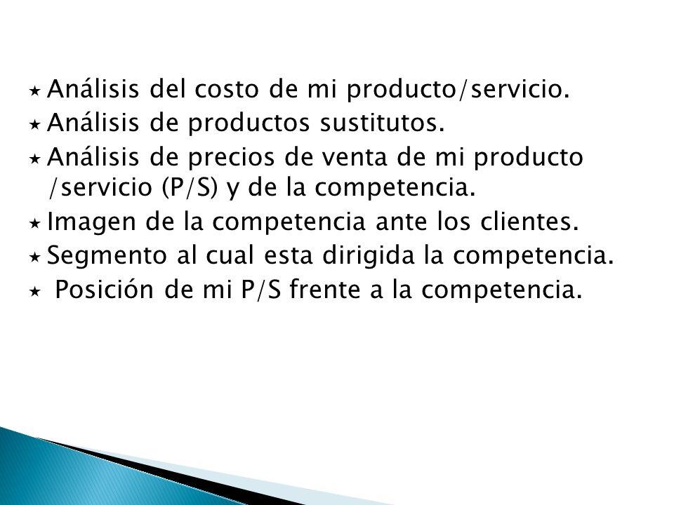 Análisis del costo de mi producto/servicio. Análisis de productos sustitutos. Análisis de precios de venta de mi producto /servicio (P/S) y de la comp