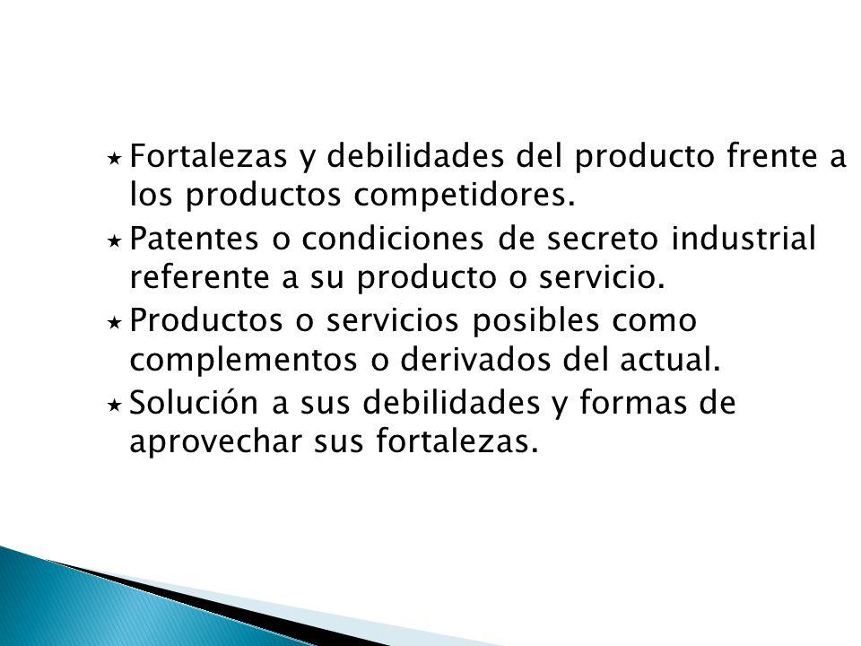Fortalezas y debilidades del producto frente a los productos competidores. Patentes o condiciones de secreto industrial referente a su producto o serv