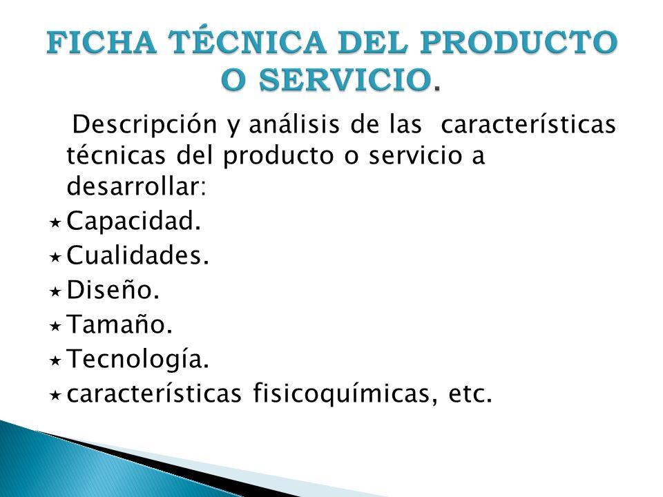 Descripción y análisis de las características técnicas del producto o servicio a desarrollar: Capacidad. Cualidades. Diseño. Tamaño. Tecnología. carac