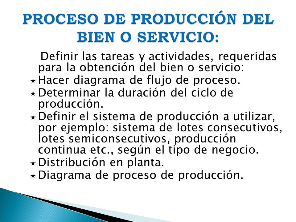 Definir las tareas y actividades, requeridas para la obtención del bien o servicio: Hacer diagrama de flujo de proceso. Determinar la duración del cic