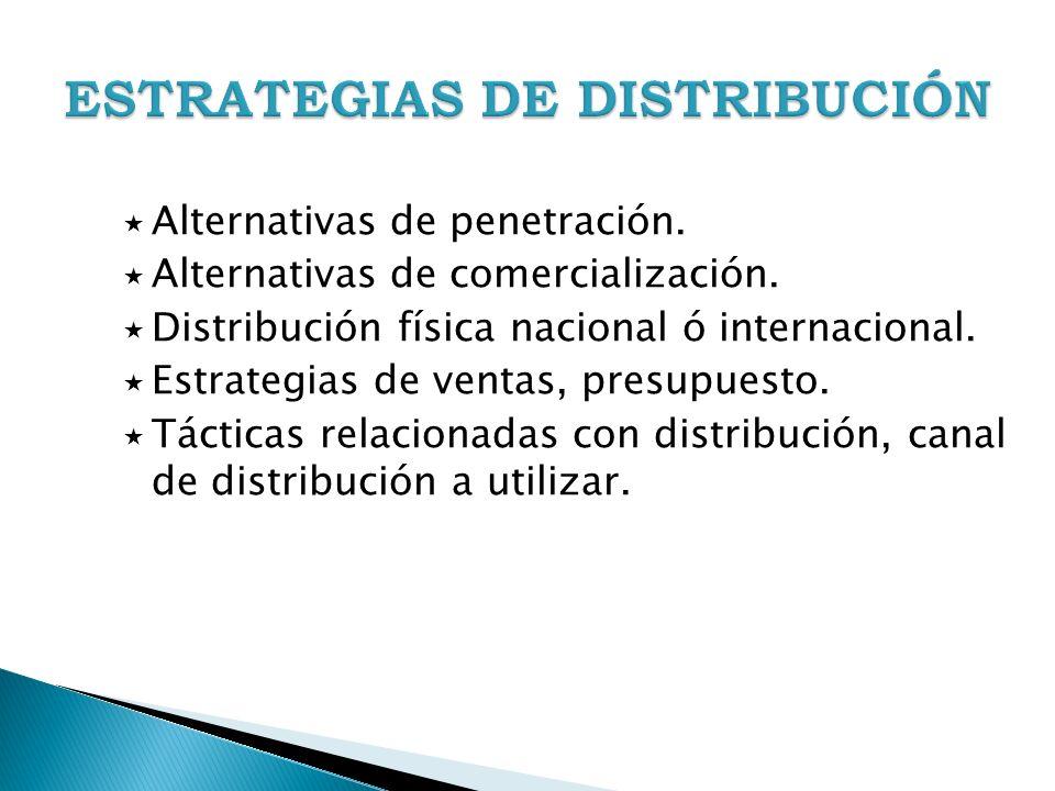 Alternativas de penetración. Alternativas de comercialización. Distribución física nacional ó internacional. Estrategias de ventas, presupuesto. Tácti
