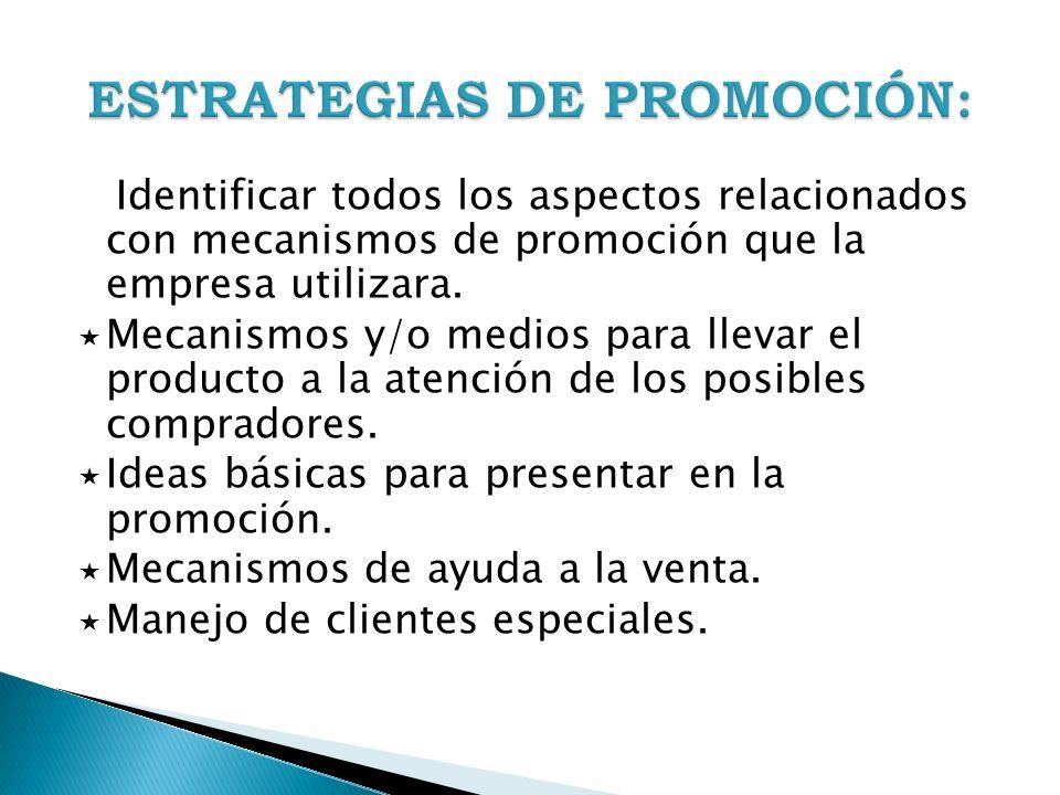 Identificar todos los aspectos relacionados con mecanismos de promoción que la empresa utilizara. Mecanismos y/o medios para llevar el producto a la a