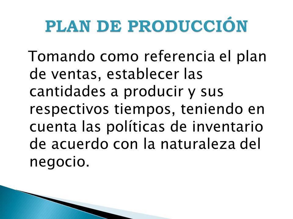 Tomando como referencia el plan de ventas, establecer las cantidades a producir y sus respectivos tiempos, teniendo en cuenta las políticas de inventa