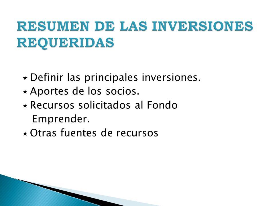 Definir las principales inversiones. Aportes de los socios. Recursos solicitados al Fondo Emprender. Otras fuentes de recursos