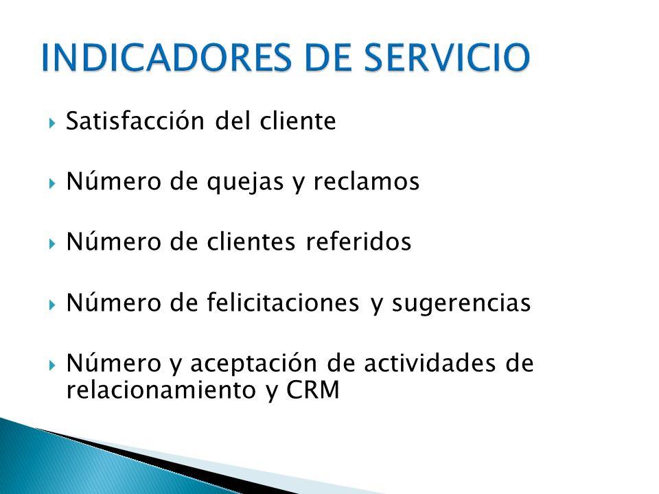 Satisfacción del cliente Número de quejas y reclamos Número de clientes referidos Número de felicitaciones y sugerencias Número y aceptación de activi