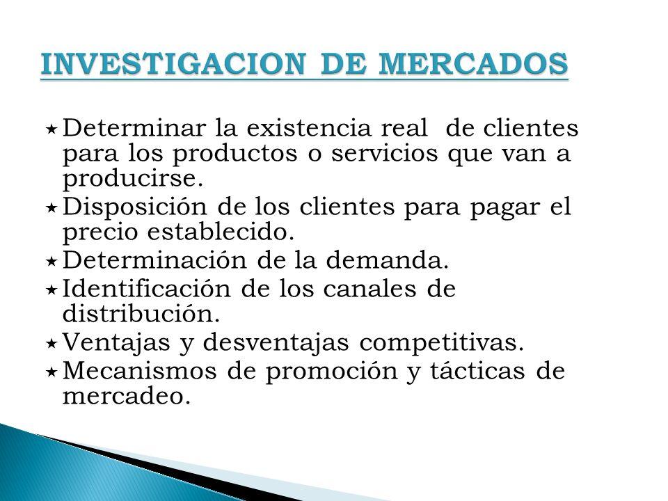 Determinar la existencia real de clientes para los productos o servicios que van a producirse. Disposición de los clientes para pagar el precio establ