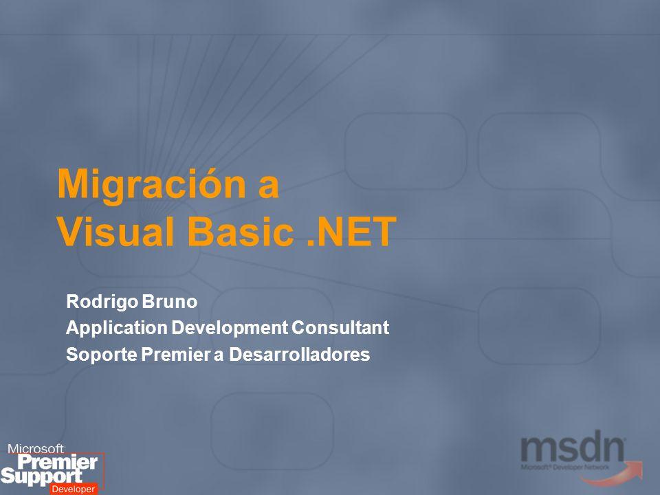 Novedades del lenguaje (2) Control de errores estructurado: Try … Catch La runtime de VB.NET forma parte del Framework.