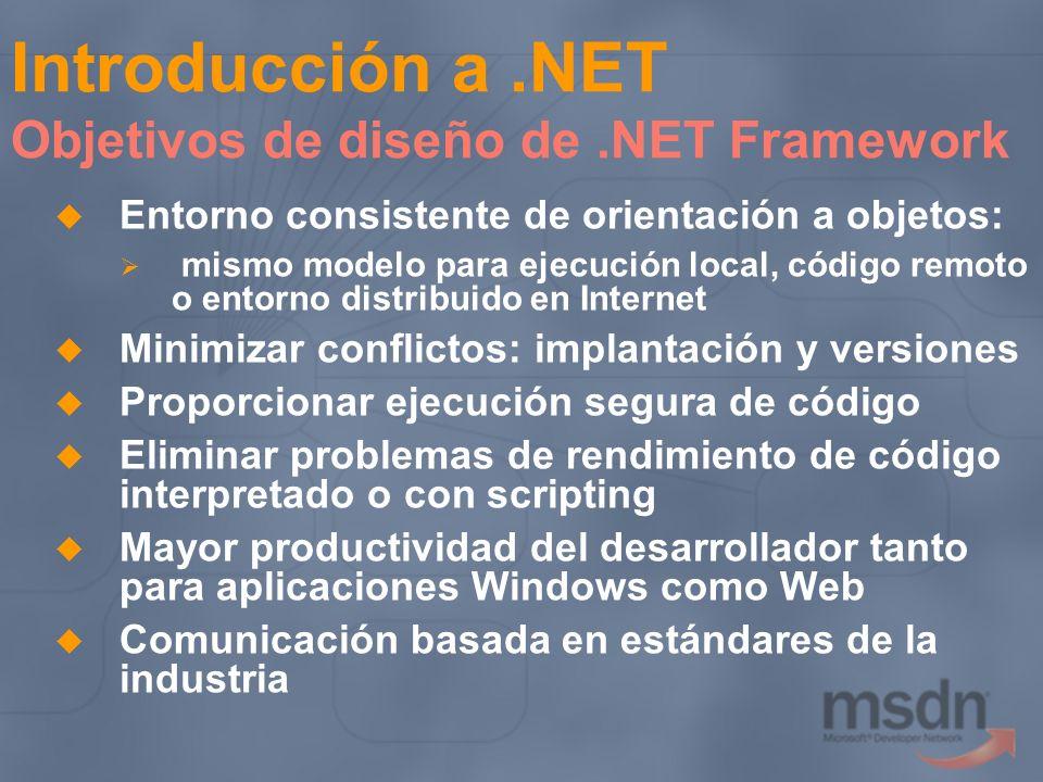 Introducción a.NET Objetivos de diseño de.NET Framework Entorno consistente de orientación a objetos: mismo modelo para ejecución local, código remoto