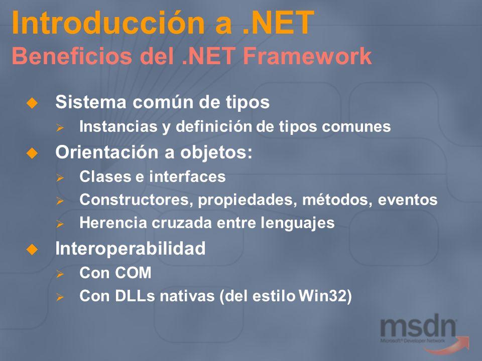 Introducción a.NET Beneficios del.NET Framework Sistema común de tipos Instancias y definición de tipos comunes Orientación a objetos: Clases e interf